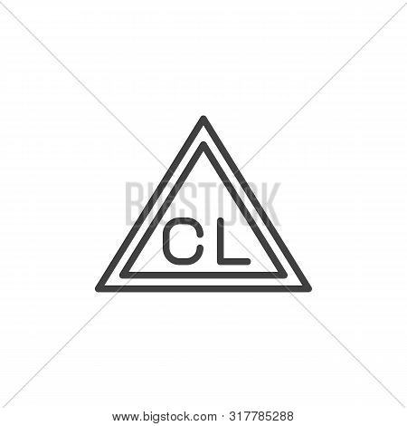 Chlorine Only, Wash Machine Sign Line Icon. Linear Style Sign For Mobile Concept And Web Design. Onl