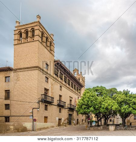 Huesca,spain - May 19,2019 - View At The Town Hall Building Of Huesca. The City Huesca Is One Of The