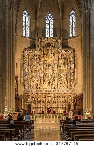 Huesca,spain - May 19,2019 - View At The Altar Of Saint Mary Cathedral In Huesca. The City Huesca Is