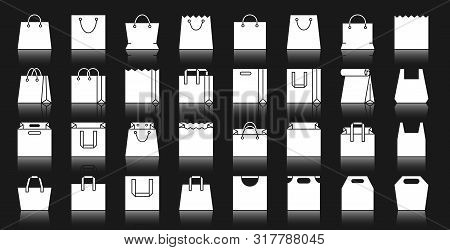 Shopping Bag Silhouette Icons Set. Isolated Web Sign Kit Of Package. Pictogram Collection Of Shop Pl