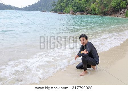 Surin Islands, Phang Nga Province, Thailand - May 2019 : Happy Man In Koh Surin Islands Is An Archip
