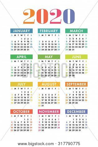 Calendar 2020 Year. Vector Design Template. Colorful English Vertical Pocket Calender. Week Starts O