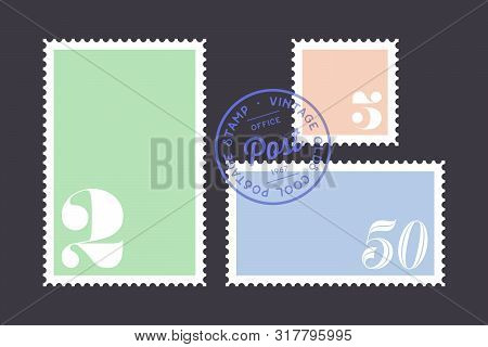 Postage Stamp. Set Of Postage Stamp, Collection Square, Circle