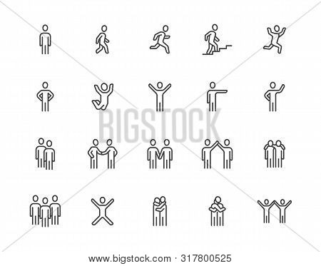 People Flat Line Icons Set. Person Walking, Running, Jumping, Climbing Stairs, Happy Man, Company Le