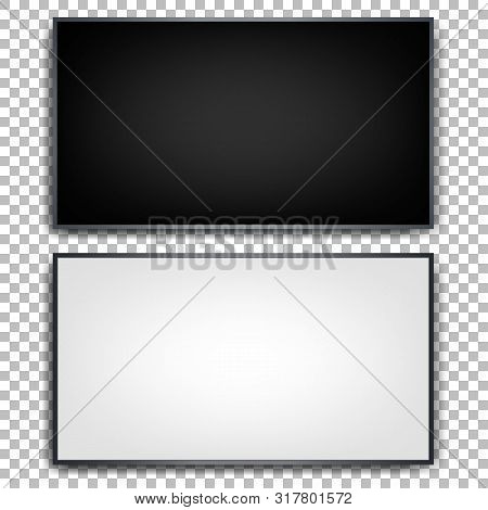 Flat Tvs On A Transparent Background. Wall Mounted Plasma Tv. Black And White. Realistic Image. Set