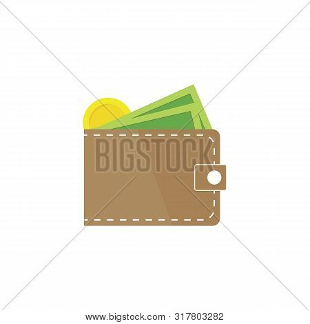 Brown Wallet With Green Paper Money. Wallet With Money Dollar Bank Note Flat Design Isolated, Icon V