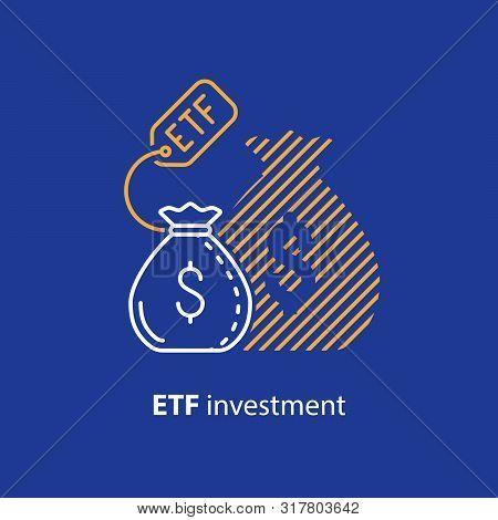 Etf Investment Concept, Bigger Return On Investing Money, Finance Control, Pension Savings Planning,