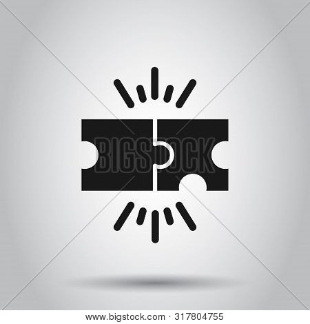 Puzzle Compatible Icon In Flat Style. Jigsaw Agreement Vector Illustration On Isolated Background. C