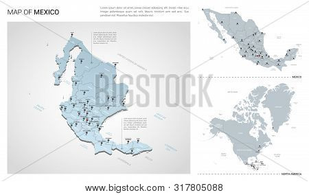 Vector Set Of Mexico Country.  Isometric 3d Map, Mexico Map, North America Map - With Region, State