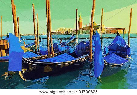 Gondolas by night at the Piazza San Marco, Venice, Italy. Draw