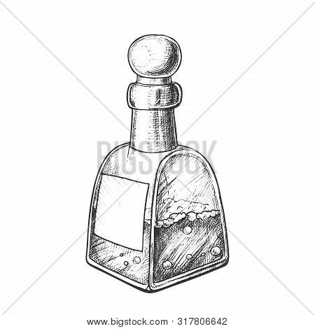 Bubbled Potion Liquid Bottle Monochrome Vector. Retro Glass Bottle With Blank Label And Cap In Spher