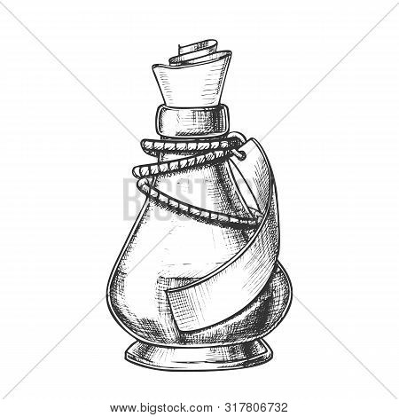 Creative Potion Glass Bottle Phial Ink Vector. Mixture Bottle Decorated Blank Ribbon On Planted Yarn
