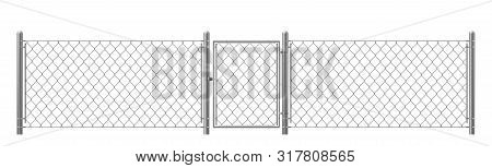 Chain-link, Rabitz Fence Fragment With Metal Pillars, Wicket Realistic Vector Isolated On White Back