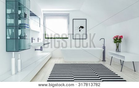 Striking modern white bathroom interior with a bold black and white stripe pattern on the floor, glass cabinets and freestanding tub. 3d rendering