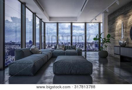 Luxury penthouse living room in evening light with wraparound glass windows overlooking the city and large comfortable grey furniture on a reflective floor. 3d rendering