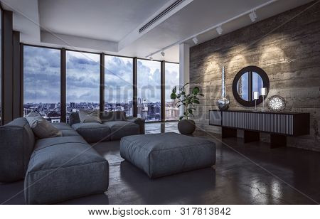 Luxury living room interior with large view windows overlooking a city in evening light with down lights shining on a feature wood textured wall and large comfortable sofas and ottoman. 3d rendering