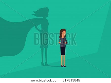 Businesswoman With Super Hero Shadow. Business Concept