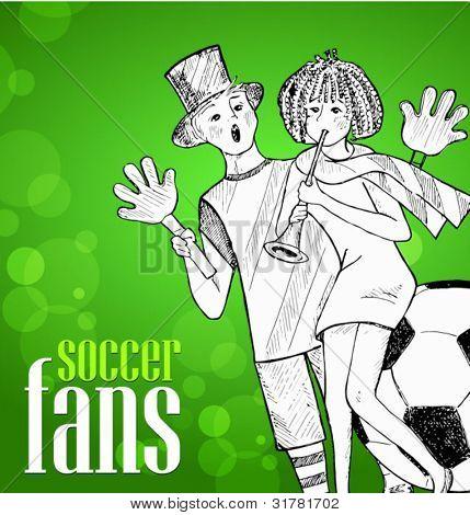 soccer fans - hand-drawn illustration