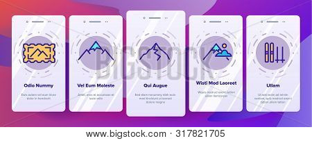 Color Mountain Alps Onboarding Mobile App Page Screen Vector Thin Line. Cable Way, Funicular And Hou