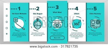 Color Action Camera Onboarding Mobile App Page Screen Vector Thin Line. Types Of Camera Linear Picto