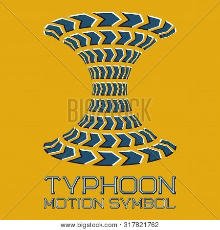 Abstract Logo Symbol In Motion Typhoon Shape On Yellow Background. Blue Emblem With Moving Arrows.