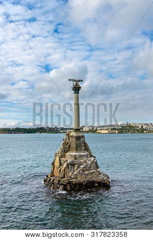 View Of The Monument To The Sunken Ships. Sevastopol. Crimea.