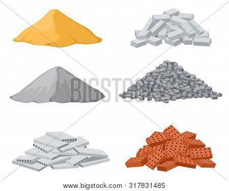 Building Material Piles. Red And Lime Brick, Cement Heaps. Gravel Pile And Reinforced Concrete Slabs