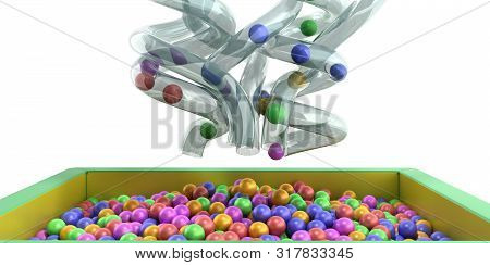Holiday Childrens Party A Games Room Box Filled With Small Colored Balls 3d Render