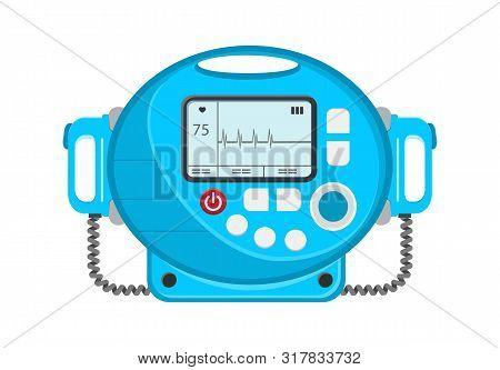 Defibrillator Vector Icon. Portable Device Used In Medicine For Electro-pulse Therapy