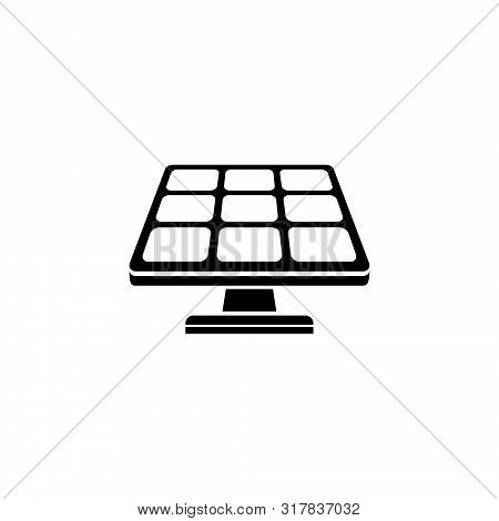 Solar Panel, Electric Sun Energy. Flat Vector Icon Illustration. Simple Black Symbol On White Backgr