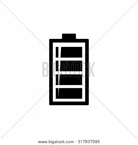 Alkaline Battery, Fully Charged. Flat Vector Icon Illustration. Simple Black Symbol On White Backgro