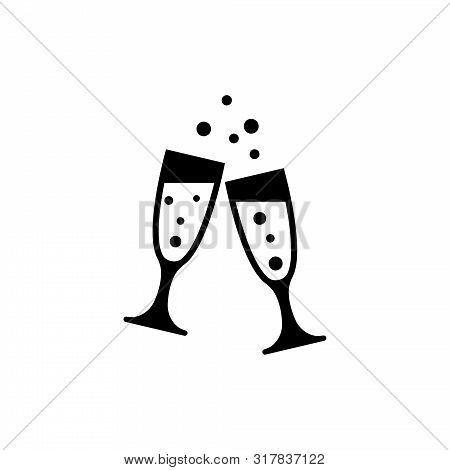 Two Clinking Glasses Champagne, Celebration. Flat Vector Icon Illustration. Simple Black Symbol On W