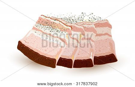 Slices Of Salo, Bacon, Lard, Silverside, Gammon, Ham Sprinkled With Black Pepper. Pieces, Strips Of