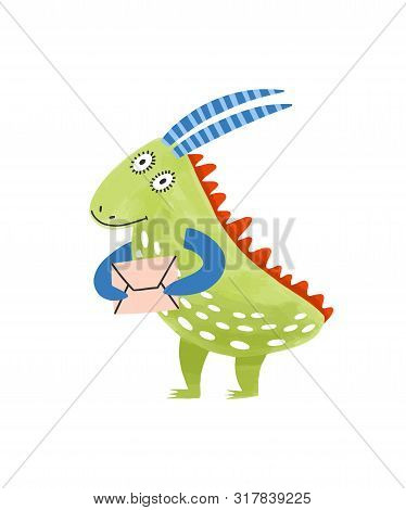 Strange Fantastic Monster Or Alien Holding Letter In Envelope. Smiling Dragon With Horns, Mascot Or