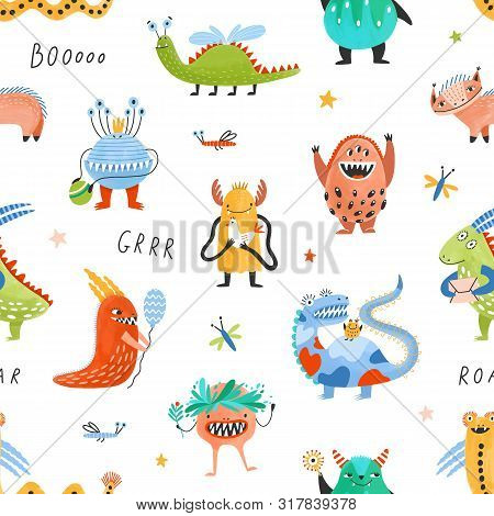 Seamless Pattern With Happy Fantastic Monsters, Cute Fairytale Creatures, Strange Aliens, Mutants On