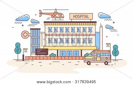 Facade Of Hospital, Clinic, Infirmary Or Medical Center Building With Helicopter Landing On Top Of I