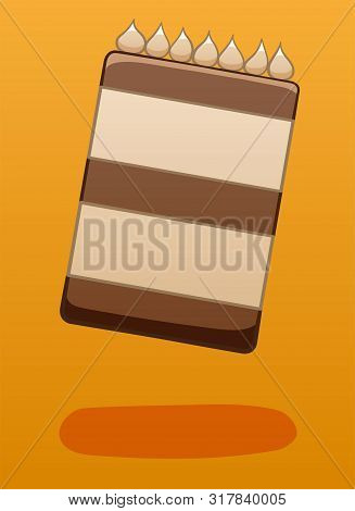 Chocolate Cake Decorated With Cream Soars In The Air On A Orange Background In Vector. There Is Shad