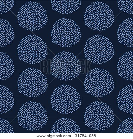 Indigo Blue Hand Drawn Seed Circle Pattern. Repeating Abstract Spotty Background. Organic Irregular