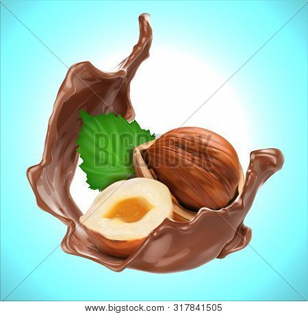 Chocolate Splash With Hazelnut. Design Element. Vector Relistichesky Illustration On A Blue Backgrou