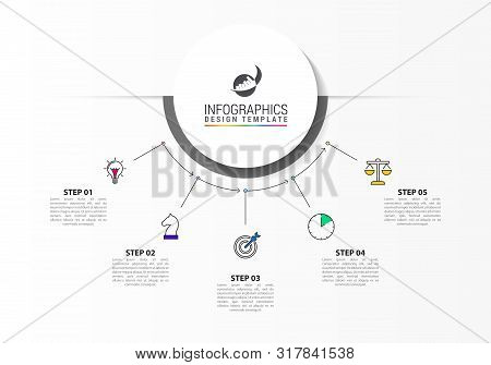 Infographic Design Template. Creative Concept With 5 Steps. Can Be Used For Workflow Layout, Diagram