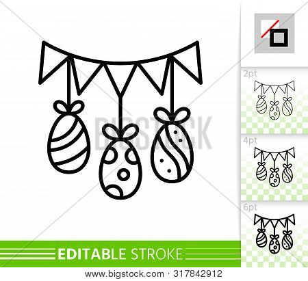 Easter Egg Garland Flag Triangle Thin Line Icon. Holiday Poster. Spring Banner In Flat Style. Simple