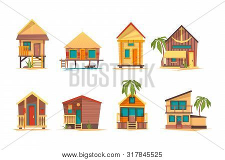 Tropical Houses. Bungalow Beach Buildings Island Home For Summer Vacation Vector Flat Pictures Colle