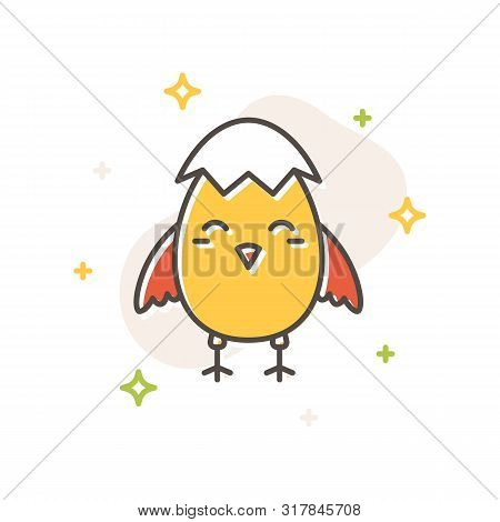 Easter chick eggshell concept in flat cartoon style. Filled outline icon design. Spring time simple sign. Cute color symbol. Print, poster, banner, card design. Vector Illustration isolated on white poster
