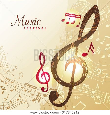 Music Notes Background. Festival Instrument Song Sound Stave Treble Clef Vector Illustration. Sound
