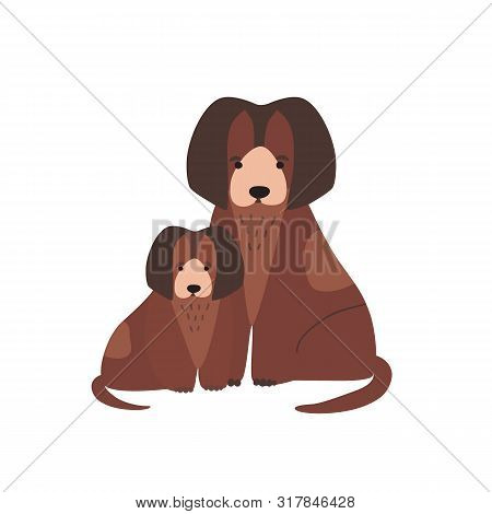 Dog With Pup Or Whelp Isolated On White Background. Family Of Funny Domestic Carnivorous Animals Or