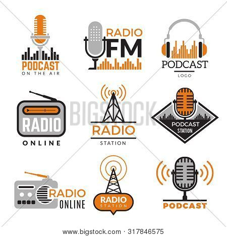 Radio Logo. Podcast Towers Wireless Badges Radio Station Symbols Vector Collection. Illustration Wir