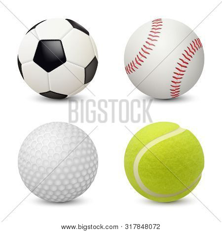 Sport Balls. Baseball Football Tennis Golf Vector Realistic Sport Equipment. Illustration Of Golf Ba
