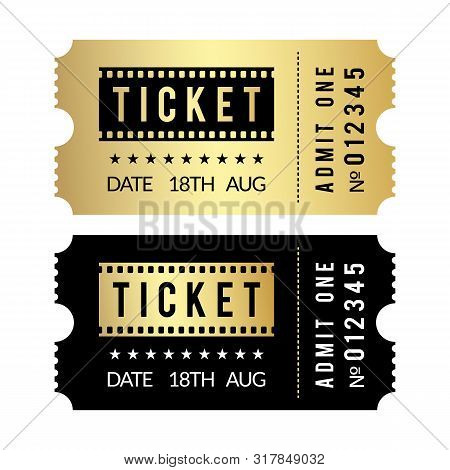 Golden Ticket Set. Cinema, Theater, Party, Museum, Event, Concert Gold And Black Vector Tickets Temp