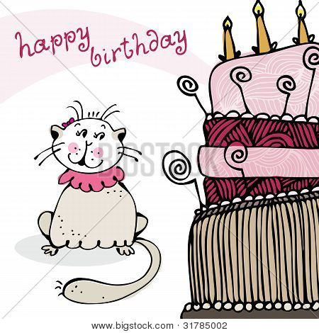 Birthday card with cat and cake
