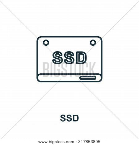 Ssd Icon. Thin Outline Style Design From Web Hosting Icons Collection. Creative Ssd Icon For Web Des